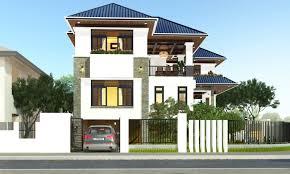 Thiết kế biệt thự 3 tầng đẹp mái thái xếp tầng độc đáo - Thiết kế biệt thự 2 tầng mái thái lệch độc đáo